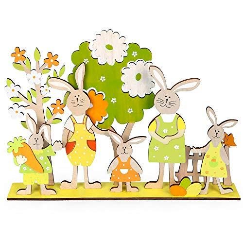 Osterhasen Deko Holz, 10er Set Deko Aufsteller FüR Ostern, Osterdeko Zum Hinstellen, Osterdekoration Aus Holz, Osterdeko FüR DraußEn, Osterdekoration Garten, Deko Ostern Hasenform, 5 Osterhasen 2 Baum