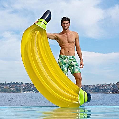 ZKLNO Fila Flotante Inflable De Agua para Adultos, Montajes PVC Banana Gruesa Fiesta En La Playa Cama Flotante Fila Flotante Anillo De Natación, con Bomba De Aire,Amarillo