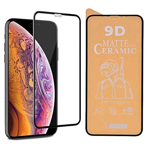PR Smart® iPhone 11 Pro Max Full Glue 9D Ceramic Film Matte Edge To Edge Full Screen Protector (Not a Tempered Glass) (Transparent Glass Black Border)