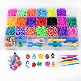 NIUHAIQING 1 Set Rainbow Rubber Bands Recharge Set - Bracelet Collier Maker Kit Petit Crochet Clip Pendentif Perle Crochet DIY Crafting Tissage Needlework Taille Unique/Une