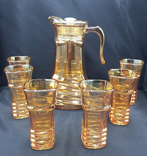 ML Jarra para Agua 1.5Lts Y 6 Vasos De Agua con Relieve...