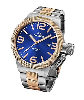 TW Steel Canteen Unisex reloj de cuarzo con azul esfera analógica y plata pulsera de acero inoxidable