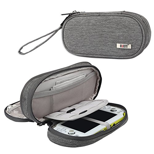 BUBM Double Compartment Storage Case Compatible with PS Vita and PSP, Protective Carrying Bag, Portable Travel Organizer Case Compatible with PSV and Other Accessories,Gray