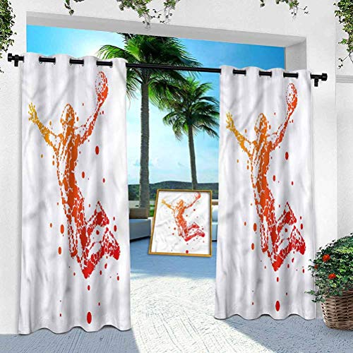 Patio Outdoor Curtain, Boys Room,Jumping Man Silhouette, 52' x 108' Heavy Duty Indoor Panel for Porch Balcony Pergola Canopy Tent Gazebo Window(1 Panel)
