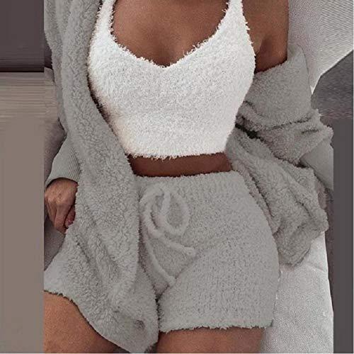 Conjunto De Pijamas De Lana De Coral para Mujer Pijamas De Primavera Otoño Invierno 3 Tops De Tres Piezas Chaquetas Cortas