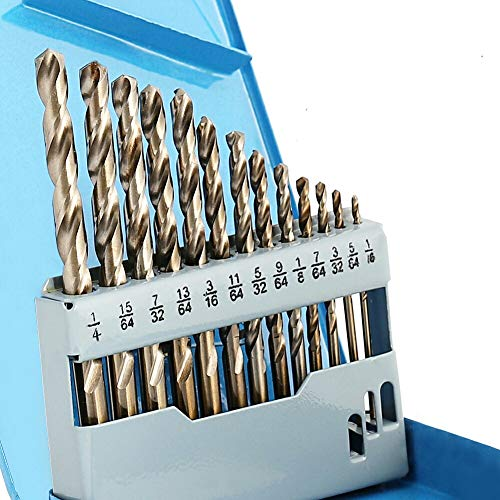 COMOWARE Cobalt Drill Bit Set- 13Pcs M35 High Speed Steel Twist Jobber Length for Hardened Metal, Stainless Steel, Cast Iron and Wood Plastic with Metal Indexed Storage Case, 1/16'-1/4'