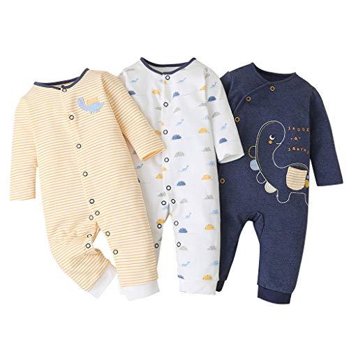 Baby Strampler 3er Pack Langarm Strampler Jungen Mädchen Schlafanzug Baumwolle Säugling Kleider 0-3 Monate