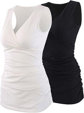 512599706f033 Topwhere Women's Cotton V Neck Tank Top/Bra for Maternity and Nursing