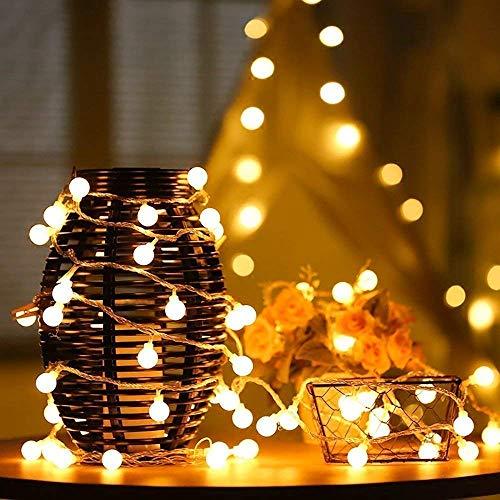 Illuminazione Balcone Catena Luminosa LED,50LED 23ft Illuminazione impermeabile Luce della Stringa Solare Globo Catene Luminose,Decorative per Casa, Festa, Giardino, Bar, Natale, Matrimonio (Caldo)