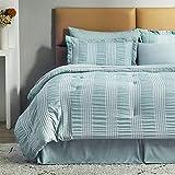 Bedsure King Comforter Set 8 Piece Bed in A Bag Stripes Seersucker Soft Lightweight Down Alternative Light Green Bedding Set 102x90 inch