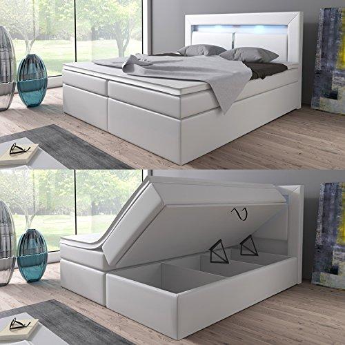 Wohnen-Luxus Boxspringbett 160x200 Weiß mit Bettkasten LED Kopflicht Hotelbett Brüssel Lift