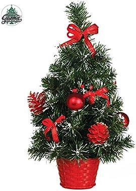 Partylandia Shop Mini Albero di Natale già Pronto, addobbato, Rosso, 0.3 Meters