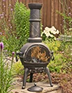 Durable cast iron fire bowl & legs with a steel flue. Protective mesh door. Metal tool & lid included.
