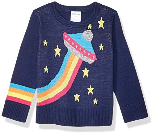 Spotted Zebra Girls Kids Pullover Crew Sweaters Rainbow UFO Small product image