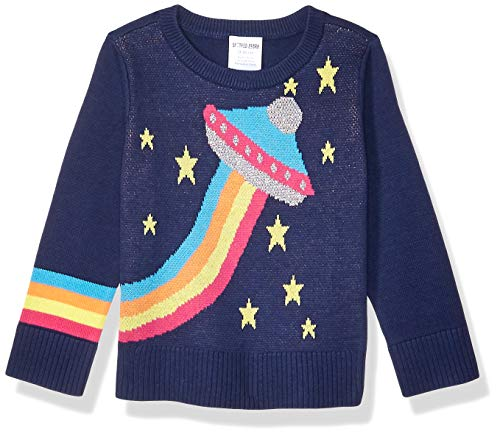 Spotted Zebra Crew Pullover-Sweaters, Rainbow UFO, XX-Large (14)