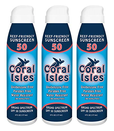 Coral Isles REEF FRIENDLY (NO Oxybenzone, NO Octinoxate) SPF 50 Sunscreen Mist Spray (6oz) (3-Pack); Broad Spectrum, Water Resistant, Non-Aerosol