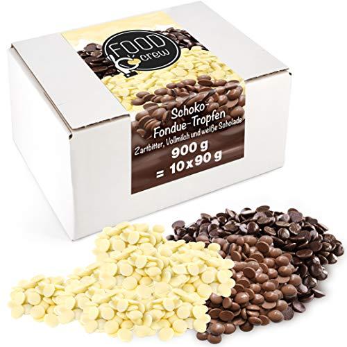 FOOD crew Mezcla de Chocolate Pepitas de Chocolate para Hornear - 900g Chocolate Belga Fundir - Chocolate Fondant para Postres - para Fuentes o Fondue de Chocolate