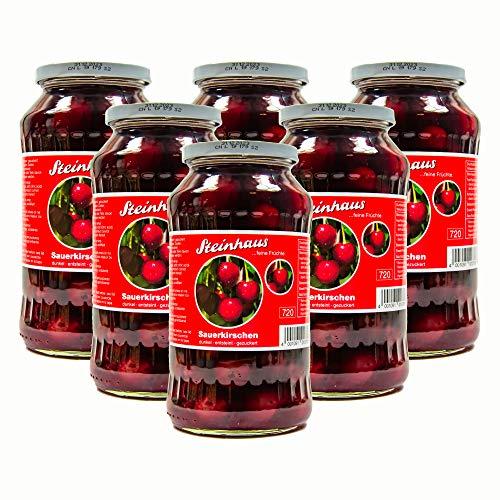 Food-United Sauerkirschen 6 Gläser Füllmenge 680g ATG 350g saftige fruchtige Schattenmorellen dunkel entsteint gezuckert für Kuchen Kompott Gelee Schwarzwälder-Kirschtorte