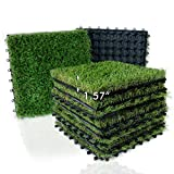 XLX TURF Artificial Grass Tiles Interlocking Turf Deck Set 9 Pack - 12'x12'...
