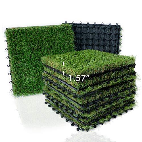 "XLX TURF Artificial Grass Tiles Interlocking Turf Deck Set 9 Pack - 12""x12"" Synthetic Fake Grass Self-draining Mat Flooring Decor Pad for Dog Pet Indoor Outdoor"