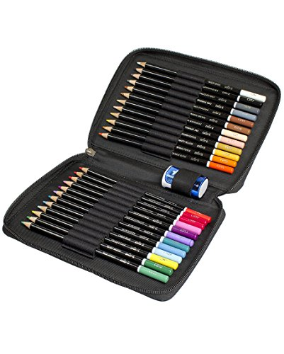 ColorIt Colored Pencil Set of 24 - Includes Premium Colored Pencils, Travel Case and Pencil Sharpener - Perfect Coloring Pencils for Adult Coloring Books with Bright Colors