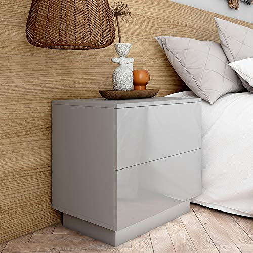 Fityou Bedside Tables, High Gloss Front, Grey Side Table with 2 Drawers and LED Lights, Wooden Bedside Cabinet Nightstand End Table for Bedroom Living Room, 55 x 37 x 56CM