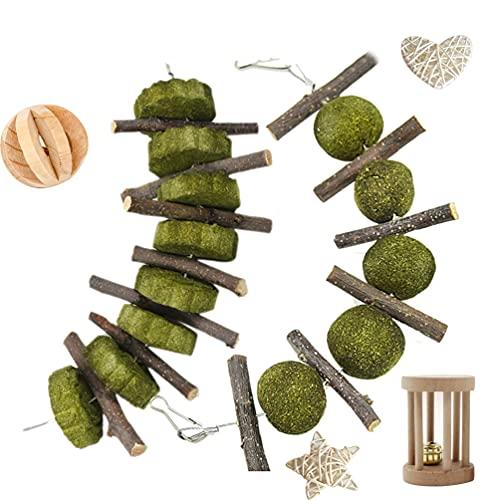 Longan Craft Juego de 6 juguetes para masticar, palitos de manzana naturales, conejos, juguetes para los dientes y conejos, accesorios