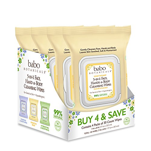 Babo Botanicals Sensitive Baby 3-in-1 Face, Hand & Body Wipes with Oatmilk & Organic Calendula, Hypoallergenic, Vegan - 30 Count (Pack of 4)