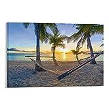 JTYK Hamaca en Palm Beach antes de la puesta del sol, vacaciones de verano, playa, palmeras de mar, póster decorativo de pared, lienzo para sala de estar, dormitorio, pintura de 50 x 75 cm