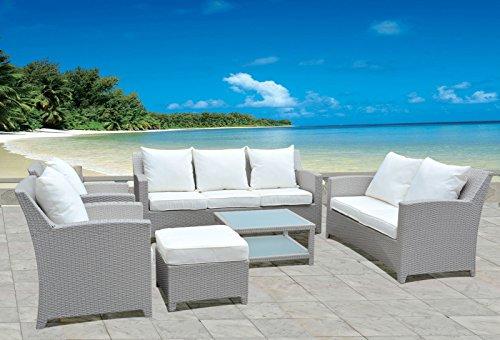 Hansson - Set di mobili da Giardino in polyrattan, 2 poltrone, 1 Sgabello e 1 Tavolo, già montati
