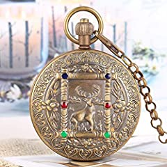 Retro Large Mechanical Watch for Men Horizontal Phases Moon Sun 24 Hour Skeleton Pocket Watches for Women Pendant Chain #4