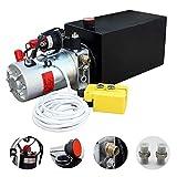 Serbatoio metallico per pompa idraulica elettrica per rimorchio ribaltabile (doppio effetto 10 quart)