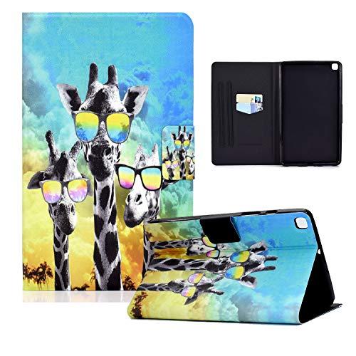 zl one Compatible con/Reemplazo para Tablet PC Samsung Galaxy Tab A 8.0 2019 SM-T290 / T295 PU Funda de cuero Flip Cover Stand Wallet Case (Gafas Giraffe)