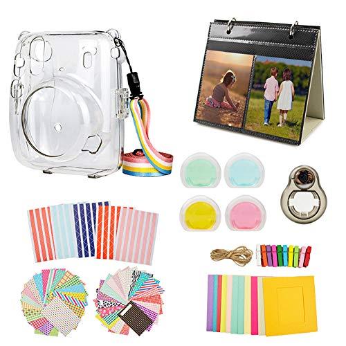 MUZIRI KINOKOO Mini 11 Zubehör-Set für Fujifilm Instax Mini 11 Schutzhülle mit 8 nützlichen Zubehör-Kamerataschen, 4 Farben Filterlinse, transparente Hülle + schwarzes Selfie-Objektiv