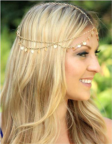 Cathercing Colgante de borla de lentejuelas bohemias para mujeres y nias para bodas, fiestas de novia, diadema, accesorio para el pelo, joyera para baile de graduacin, Halloween