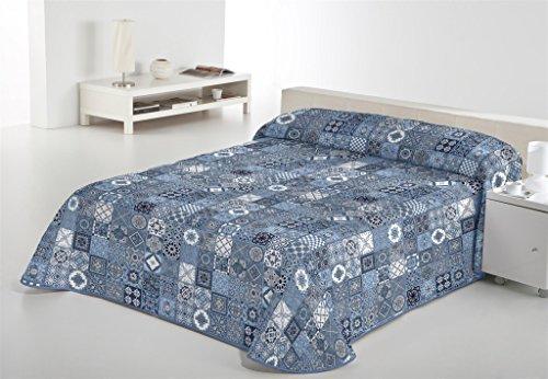 SABANALIA - Colcha Estampada Rustik (Disponible en Varios tamaños), Color Azul, Cama 90-180 x 280 cm