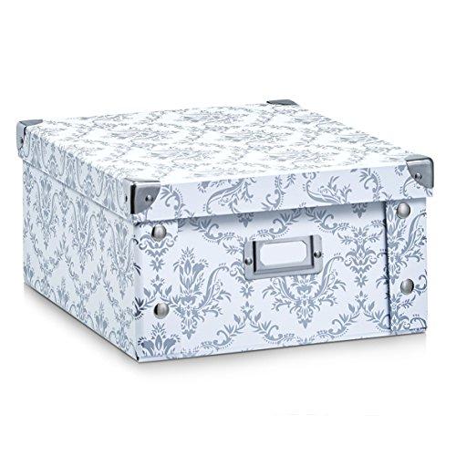 Zeller 17972 Aufbewahrungsbox 'Vintage', Pappe, weiß, ca. 31 x 26 x 14 cm