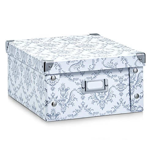 Zeller 17972 Vintage Boîte de Rangement Papier Carton Blanc 31 x 26 x 14 cm