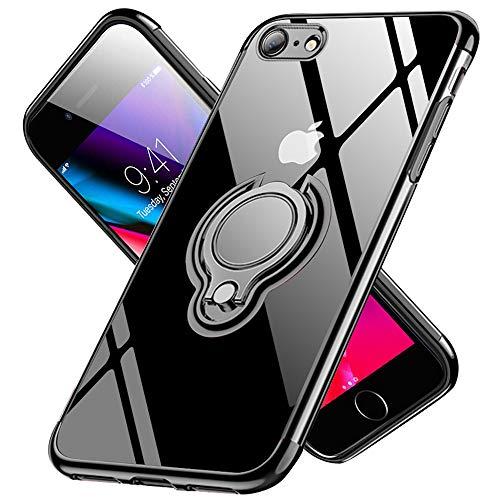 iPhone SE ケース 第2世代 iPhone8 ケース iPhone7 ケース【2020年新型】リング 透明 耐衝撃 磁気カーマウントホルダー スタンド メッキ柔らかい殻 黄変防止 TPUシリコン 軽量 薄型 全面保護 超耐久一体型 アイフォン8 ケース 人気 携帯カバー 防塵 車載ホルダー対応 高級なカーボン風 スクラッチ(ブラック)