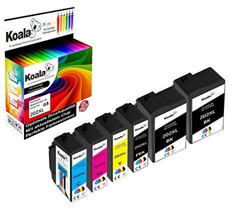 Koala 6 Sostituzione per Epson 202XL 202 XL 202 Cartucce Compatibili per Epson Expression Premium XP-6000 XP-6005 XP-6100 XP-6105 XP-6001 (2*Nero 1* Foto Nero 1*Ciano 1*Magenta 1*Giallo)