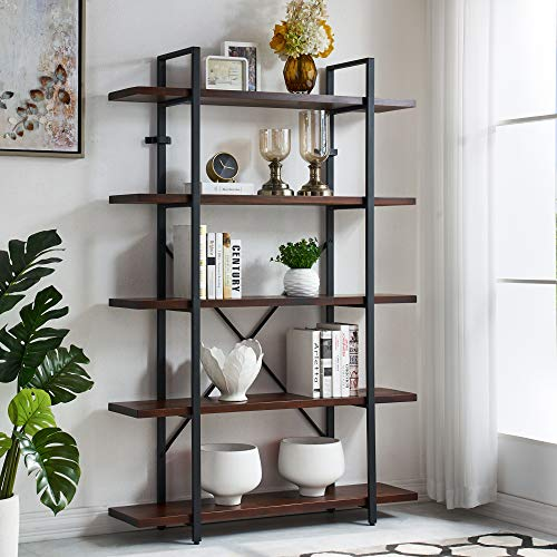 Homissue 5-Tier Industrial Solid Wood Bookcase Furniture, Open Bookcase and Bookshelves, Display Shelf Storage Organizer for Home Office