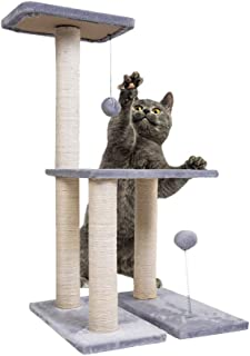 Dimaka Cat Tree,  Cat Activity Tree with Sisal Scratching Post and 2 Tease Toy Balls,  Two Level 30 Tall Cat Tree Cats