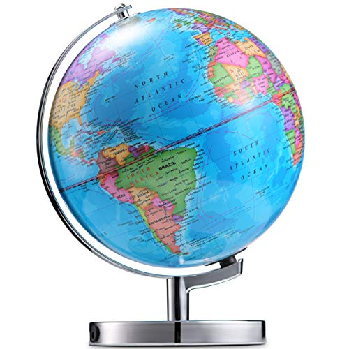 LED Illuminated Globe of The World with Sturdy Chrome Rotating Display Stand - 3 in 1 Educational Geography Map, Light Up Earth Constellation Globe STEM for Kids & Adults| Nightlight, 13.5 Inch Tall