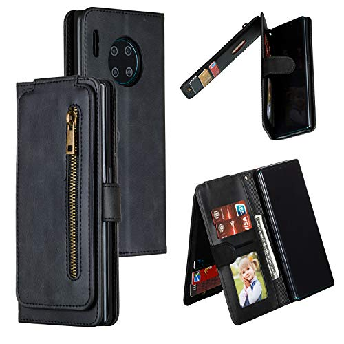LODROC Leather Wallet Case for [Huawei Mate 30 Pro], [Kickstand Feature] Luxury PU Leather Wallet Case Flip Folio Cover with [Card Slots] and [Note Pockets] for Huawei Mate30 Pro - LOYKB0300300 Black