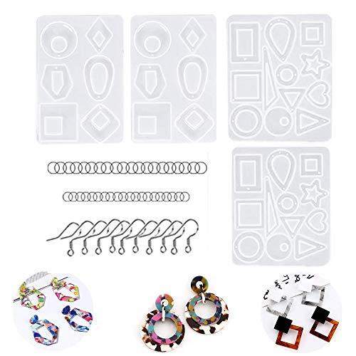 Kit de Moldes de Silicona para Pendientes de 124 Piezas con 4 Moldes para Pendientes de Resina 40 Ganchos para Pendientes 80 Anillos para Saltar.