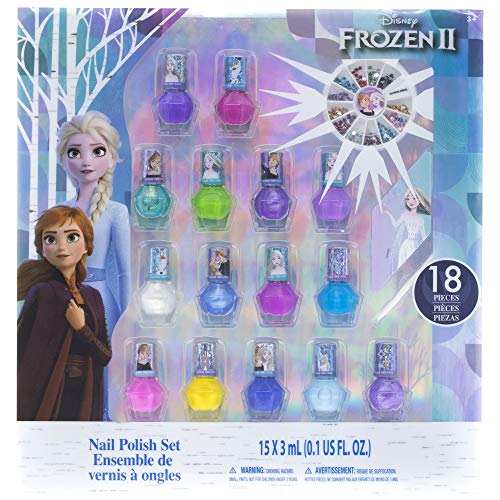Townley Girl Frozen 2 Non-Toxic Peel-Off Nail Polish Set for Girls, Glittery and Opaque Colors, with Nail Gems, Ages 3+ (15 Pack), for Parties, Sleepovers and Makeovers