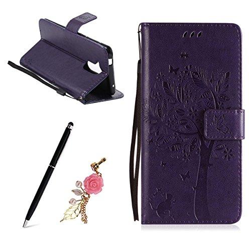 Meeter Huawei ShotX Hülle, Lederhülle Tasche Handyhülle für Huawei Honor 7i, Retro Geprägtes Blütenbaum-Muster Design PU Ledercase Tasche Schutzhülle Scratch Magnetverschluss Telefon-Ka