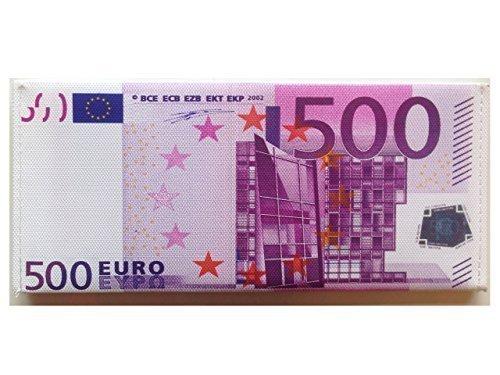 Rubber Johnnies TM Portafogli Cucito a Mano con Disegno Falsa Banconota Valute Sterlina Britannica Dollaro Euro - 500 Euro