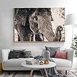 wZUN Cartel de Pintura de Lienzo de Animal con Cabeza y Ojos de Elefante Salvaje en Blanco y Negro y Mural de Grabado en la Sala de Estar 60x80 cm