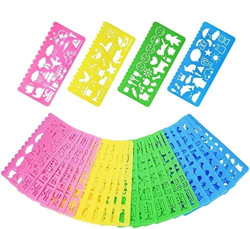 BESTZY 36 Piezas Plantillas de dibujo de plástico Regla, Plantillas de Dibujo de Plástico Conjunto para Niños, Dibujo Plantilla Stencil para Niños Aprender Viaje Regalo